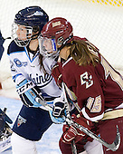Melissa Gagnon (Maine - 12), Emily Field (BC - 15) - The visiting University of Maine Black Bears defeated the Boston College Eagles 5-2 on Sunday, October 30, 2011, at Kelley Rink in Conte Forum in Chestnut Hill, Massachusetts.