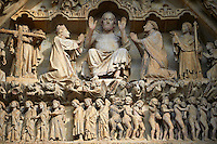 Tympanum of central west portal: Christ in Majesty presides over the Last Day of Judgement, supported by an array of saints. Gothic Cathedral of Notre-Dame, Amiens, France