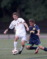 Boston College defender Ryan Dunn (3) collects the ball as Quinnipiac University defender William Cavallo (24) fails to control a pass. Boston College defeated Quinnipiac, 5-0, at Newton Soccer Field, September 1, 2011.