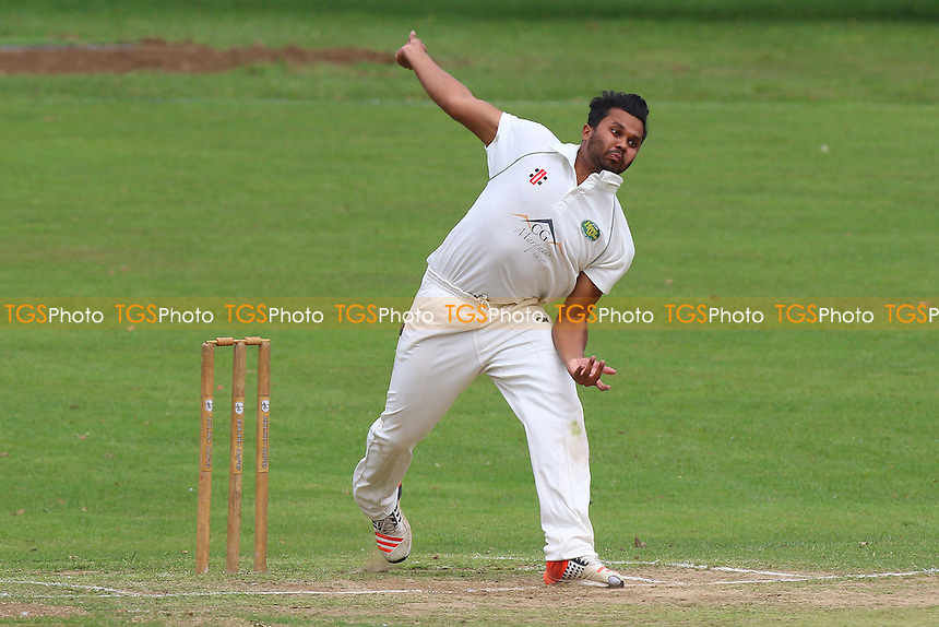 M Chowdhury in bowling action for Harold Wood during Harold Wood CC (fielding) vs Upminster CC, Shepherd Neame Essex League Cricket at Harold Wood Park on 30th July 2016