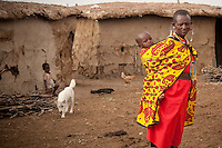 Women are the engine that runs the home in a typical Maasai home. They wake up at the cock's crow and are the last to go to bed. They must care for their families, milk the cows, prepare food, fetch firewood, travel long distances to get water and even do repairs to leaking roofs. In Kenya the average family size is between four and five children.