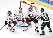 Brett Motherwell (Boston College - St. Charles, IL) blocks in front of Cory Schneider (Boston College - Marblehead, MA) while Tim Filangieri (Boston College - Islip Terrace, NY) defends against Tim Kennedy (Michigan State - Buffalo, NY). The Michigan State Spartans defeated the Boston College Eagles 3-1 (EN) to win the national championship in the final game of the 2007 Frozen Four at the Scottrade Center in St. Louis, Missouri on Saturday, April 7, 2007.