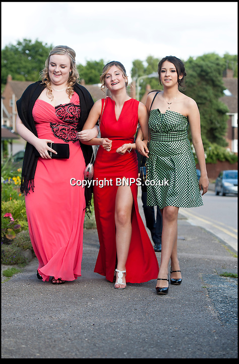 BNPS.co.uk (01202) 558833<br /> Picture: Peter Willows<br /> <br /> **exclusive/not online**<br /> <br /> Isabelle Papandronicou is accompanied by her friends to the prom (front l-r) Emily Oakley, Isabelle, Valentina Quintero<br /> <br /> Teenage amputee Isabelle Papandronicou has got a new prosthetic leg that has enabled her to wear heels for the first time, just in time for her school prom. Isabelle (15) from Barnet, London, chose to have her right leg amputated last year after several operations to fix a rare bone condition did not work. She has been wearing an NHS limb since then but has been limited to just flat shoes. After hearing about lifelike prosthetics that can be shaped to fit inside heeled footwear, her family started fundraising to get Isabelle a new leg. She has now been fitted with the &pound;5,633 leg by Dorset Orthopaedic in Ringwood, Hampshire, which she showcased at her year 11 leaver's ball.