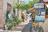 Traditional Greek tavern in the port of Aegina island, Greece