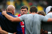 Elliott Stooke of Bath Rugby looks on in a pre-match huddle. Aviva Premiership match, between Northampton Saints and Bath Rugby on September 3, 2016 at Franklin's Gardens in Northampton, England. Photo by: Patrick Khachfe / Onside Images