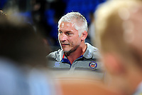 Bath Director of Rugby Todd Blackadder speaks to his team after the match. Pre-season friendly match, between Leinster Rugby and Bath Rugby on August 26, 2016 at Donnybrook Stadium in Dublin, Republic of Ireland. Photo by: Patrick Khachfe / Onside Images