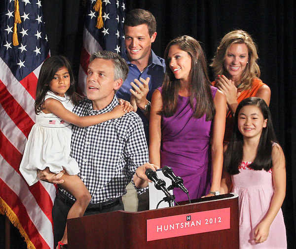 Exeter, New Hampshire: June 21, 2011<br /> Presidential candidate Jon Huntsman Jr. and some of his children attend a campaign rally occurring hours after he declared his candidacy. His children are (from left to right) Asha Bharati (adopted), Jon III,  Abigale (Abby), Mary Anne, and Gracie Mei (adopted). The event occurred at the Exeter Town Hall. &copy;Scott P. Yates / Candidate Photos