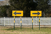 Road signs pointing left and right