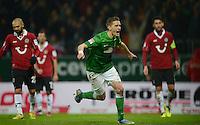 FUSSBALL   1. BUNDESLIGA   SAISON 2012/2013    20. SPIELTAG SV Werder Bremen - Hannover 96                           01.02.2013 Nils Petersen (SV Werder Bremen) (Mitte) bejubelt sein Tor zum 2:0