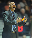 "Mississippi head coach Andy Kennedy reacts vs. Arkansas at the C.M. ""Tad"" Smith Coliseum in Oxford, Miss. on Saturday, January 19, 2013. (AP Photo/Oxford Eagle, Bruce Newman)"