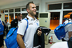St Johnstone v Eskisehirspor....19.07.12  Uefa Cup Qualifyer.Keeper Alan Mannus waits at the airport in Turkey before boarding the flight back to Edinburgh..Picture by Graeme Hart..Copyright Perthshire Picture Agency.Tel: 01738 623350  Mobile: 07990 594431