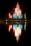 Christmas lights on the boardwalk of the Coeur d'Alene Resort.