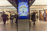 "Promotion for Cirque du Soleil's Broadway musical ""Paramour"", in Turnstyle, a shopping and foodie arcade in the subway in New York Tuesday, November, 29, 2016. ""Paramour"" is at the Lyric Theatre and is about the golden age of Hollywood. (© Richard B. Levine)"