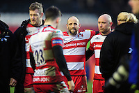 Charlie Sharples of Gloucester Rugby looks dejected in a post-match huddle. Aviva Premiership match, between Leicester Tigers and Gloucester Rugby on February 11, 2017 at Welford Road in Leicester, England. Photo by: Patrick Khachfe / JMP