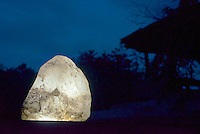 Illuminated natural Crystal at Galapita resort.