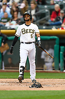 Francisco Arcia (5) of the Salt Lake Bees at bat against the Sacramento River Cats in Pacific Coast League action at Smith's Ballpark on April 11, 2017 in Salt Lake City, Utah. The River Cats defeated the Bees 8-7. (Stephen Smith/Four Seam Images)