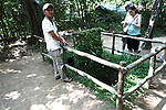 A tour guide demonstrates a reconstructed &quot;tiger trap&quot; at the Chu Chi tunnel complex in Chu Chi, Vietnam. Steel or bamboo spikes lined the bottom of the pit and would kill or seriously wound anyone who fell victim to the trap. The device was only one of many ingenious booby traps that Viet Cong soldiers used against U.S. and South Vietnamese troops in the guerilla stronghold. July 2, 2011.