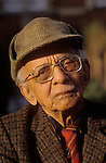 Colour portrait of Nirad Chaudhuri at his home in Oxford