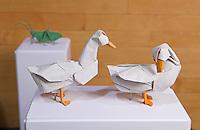 OrigamiUSA 2014 exhibition. Origami ducks designed by Seth Friedman