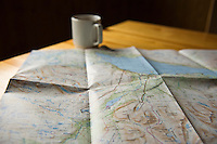 Trail map on table in mountain hut, Kungsleden, Sweden