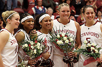 STANFORD, CA - FEBRUARY 20:  JJ Hones, Melanie Murphy, Rosalyn Gold-Onwude, Jayne Appel and Michelle Harrison of the Stanford Cardinal during Stanford's 82-48 win over Oregon State on February 20, 2010 at Maples Pavilion in Stanford, California.