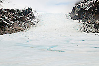 Main Icefall on Fox Glacier and meltwater streams, Westland National Park, West Coast, New Zealand