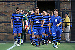 26 September 2014: Duke's Seo-In Kim (23), Jack Coleman (3), and Jimmy Doll (16) lead their teammates onto the field. The Duke University Blue Devils hosted the Boston College Eagles at Koskinen Stadium in Durham, North Carolina in a 2014 NCAA Division I Men's Soccer match. Duke won the game 1-0.