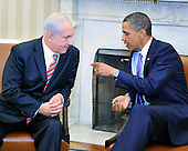 United States President Barack Obama meets Prime Minister Benjamin Netanyahu of Israel in the Oval Office of the White House in Washington, D.C. on Wednesday, September 1, 2010.  This is one of several meetings between the President and Middle East Leaders in advance of the opening of the first direct talks in two years between Israel and the Palestinian Authority scheduled to begin at the State Department in Washington, D.C. tomorrow..Credit: Ron Sachs / Pool via CNP