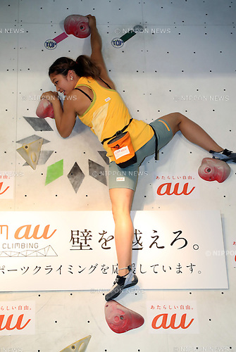 "August 9, 2016, Tokyo, Japan - Japan's  top sport-climbing athlete Miho Nonaka performs as she and other three athletes Tomoa Narasaki, Akiyo Noguchi and Kokoro Fujii form the ""Team au"", supported by KDDI at a presentation in Tokyo on Tuesday, August 9, 2016. IOC decided recently that sport-climbing would be one of the eight sports for the Tokyo 2020 Olympic Games additional events.    (Photo by Yoshio Tsunoda/AFLO) LWX -ytd-"