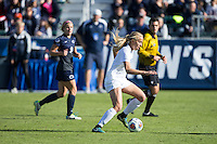 Cary, North Carolina - Sunday December 6, 2015: Rebecca Quinn (5) of the Duke Blue Devils controls the ball during first half action against the Penn State Nittany Lions at the 2015 NCAA Women's College Cup at WakeMed Soccer Park.  The Nittany Lions defeated the Blue Devils 1-0.