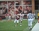 Ole Miss wide receiver Markeith Summers (16) is defended by Arkansas cornerback Isaac Madison (6) at Reynolds Razorback Stadium in Fayetteville, Ark. on Saturday, October 23, 2010.