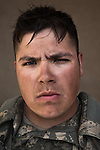 SPC Christopher Cantrell. Harlingen, Texas. 23. Medic. Charlie Co. 1st Battalion 12th Infantry Regiment, 4th Infantry Division. Photographed at Combat Outpost JFM in Zhari District, Kandahar, Afghanistan.