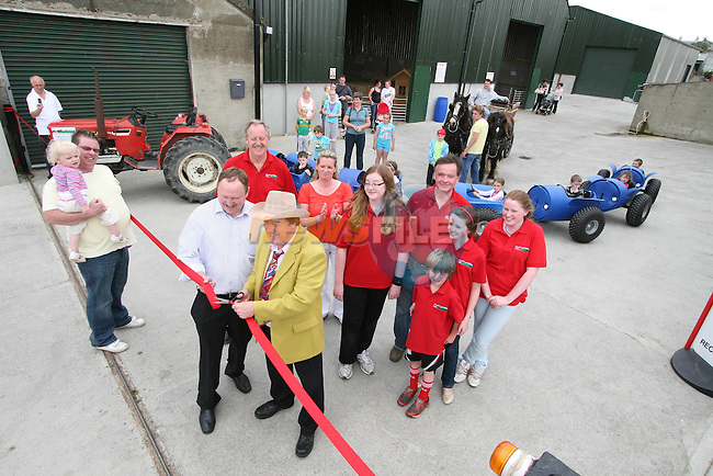 Frank Godfrey and Seamus O'Neill Cllr Duleek with the Fee and Kennedy families at the Opening of The Red Mountain Open Farm...Photo NEWSFILE/Jenny Matthews.(Photo credit should read Jenny Matthews/NEWSFILE)....This Picture has been sent you under the condtions enclosed by:.Newsfile Ltd..The Studio,.Millmount Abbey,.Drogheda,.Co Meath..Ireland..Tel: +353(0)41-9871240.Fax: +353(0)41-9871260.GSM: +353(0)86-2500958.email: pictures@newsfile.ie.www.newsfile.ie.FTP: 193.120.102.198.
