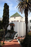 The Artisan School or Dar Sanaa, founded 1919 under the Spanish Protectorate of Morocco, which teaches the traditional art and craft skills of woodwork, zellige, sculpted plaster, leatherwork, etc, in Tetouan on the slopes of Jbel Dersa in the Rif Mountains of Northern Morocco. Tetouan was of particular importance in the Islamic period from the 8th century, when it served as the main point of contact between Morocco and Andalusia. After the Reconquest, the town was rebuilt by Andalusian refugees who had been expelled by the Spanish. Picture by Manuel Cohen