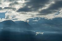 Mistly mountains above Glenorchy, New Zealand