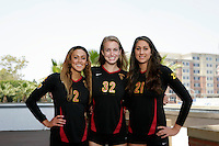 10 August 2010:  Senior players on the Pac-10 NCAA College Women's Volleyball team for the USC Trojans Women of Troy photographed at the Galen Center on Campus in Southern California.  #2 Geena Urango, Zoe Garrett and Kimmee Roleder. .Images are for Personal use only.  No Model Release, No Property Release, No Commercial 3rd Party use. .Photo Credit should read: &copy;2010ShellyCastellano.com