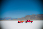 &copy; 2011  David Burnett <br /> Contact Press Images<br /> 212 695 7750<br /> <br /> Bonneville Nationals Speed Week<br /> Kenny Hoover &amp; Amir Rosenbaum<br /> team: Speed by Spectre<br /> general views: starting area<br /> pictures at mile 5 of cars slowing with parachutes;<br /> <br /> <br /> <br /> August 13, 2011<br /> Wendover, Utah<br /> Bonneville Salt Flats race course. Arriving of cars and teams.  Running as seen from starting line,and the 4 mile timing area.  Overall shots from starting line of LONG Course;  5 1/2 mile point of long course: cars deploying parachutes.