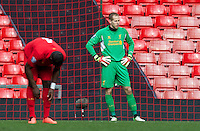 LIVERPOOL, ENGLAND - Easter Monday, April 1, 2013: Liverpool's goalkeeper Peter Gulacsi looks dejected as Tottenham Hotspur score the third goal during the Under 21 FA Premier League match at Anfield. (Pic by David Rawcliffe/Propaganda)