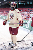 Johnny Gaudreau (BC - 13) -  - The participating teams in Hockey East's first doubleheader during Frozen Fenway practiced on January 3, 2014 at Fenway Park in Boston, Massachusetts.