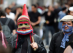 Anarchist protestor in knitted balaclavaMay Day March, Paris, 1 May 2009