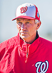 25 February 2016: Washington Nationals Bench Coach Chris Speier watches the first full squad Spring Training workout at Space Coast Stadium in Viera, Florida. Mandatory Credit: Ed Wolfstein Photo *** RAW (NEF) Image File Available ***