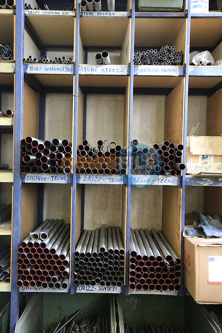 Tubing storage section at the Tommasini factory based in Grosseto, Tuscany, Italy 6th March 2017.<br /> Picture: Eoin Clarke | Newsfile<br /> <br /> <br /> All photos usage must carry mandatory copyright credit (&copy; Newsfile | Eoin Clarke)