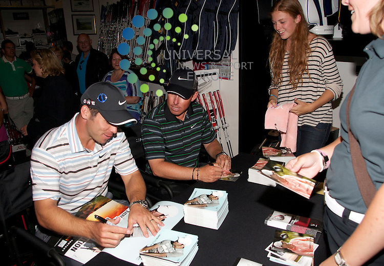 Golfers Justin Leonard / Paul Casey open The new Nike stand at  Auchterlonies golf store St Andrews..12-07-10... Golfers Justin Leonard / Paul Casey open The new Nike stand at  Auchterlonies golf store St Andrews.as  the countdown to.the 150th Open Championship....Picture, Mark Davison/Universal News and Sport.