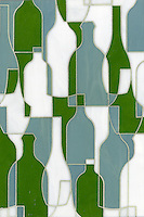 Bottles, a glass waterjet mosaic shown in Eva, Serpentine and Moonstone, is part of the Erin Adams Collection for New Ravenna Mosaics.