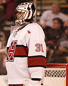 Merrick Madsen (Harvard - 31) - The Harvard University Crimson defeated the Northeastern University Huskies 4-3 in the opening game of the 2017 Beanpot on Monday, February 6, 2017, at TD Garden in Boston, Massachusetts.