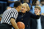 03 February 2013: UNC head coach Sylvia Hatchell, with 899 career wins coming into the game, talks to referee Billy Smith (left). The University of North Carolina Tar Heels played the Duke University Blue Devils at Carmichael Arena in Chapel Hill, North Carolina in an NCAA Division I Women's Basketball game.
