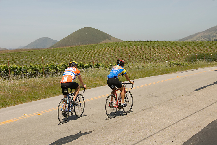 California, San Luis Obispo County: Bicycle riders, couple, on back country road near Edna Valley Vineyard..Photo caluis122-70778..Photo copyright Lee Foster, www.fostertravel.com, 510-549-2202, lee@fostertravel.com