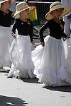 The Hispanic Parade in New York City.  Girls representing Colombia in the Hispanic Parade in New York City.