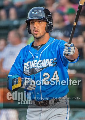 21 July 2016: Hudson Valley Renegades outfielder Garrett Whitley stands on deck during a game against the Vermont Lake Monsters at Centennial Field in Burlington, Vermont. The Lake Monsters edged out the Renegades 4-3 in NY Penn League play. Mandatory Credit: Ed Wolfstein Photo *** RAW (NEF) Image File Available ***