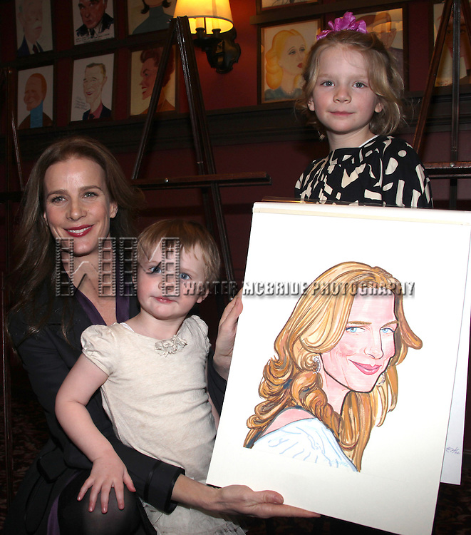 Rachel Griffiths with daughters Adalaila Griffiths and Clementine Griffiths .attending the Sardi's Caricature Unveiling in New York City, February 16,  2012 © Walter McBride/WM Photography /